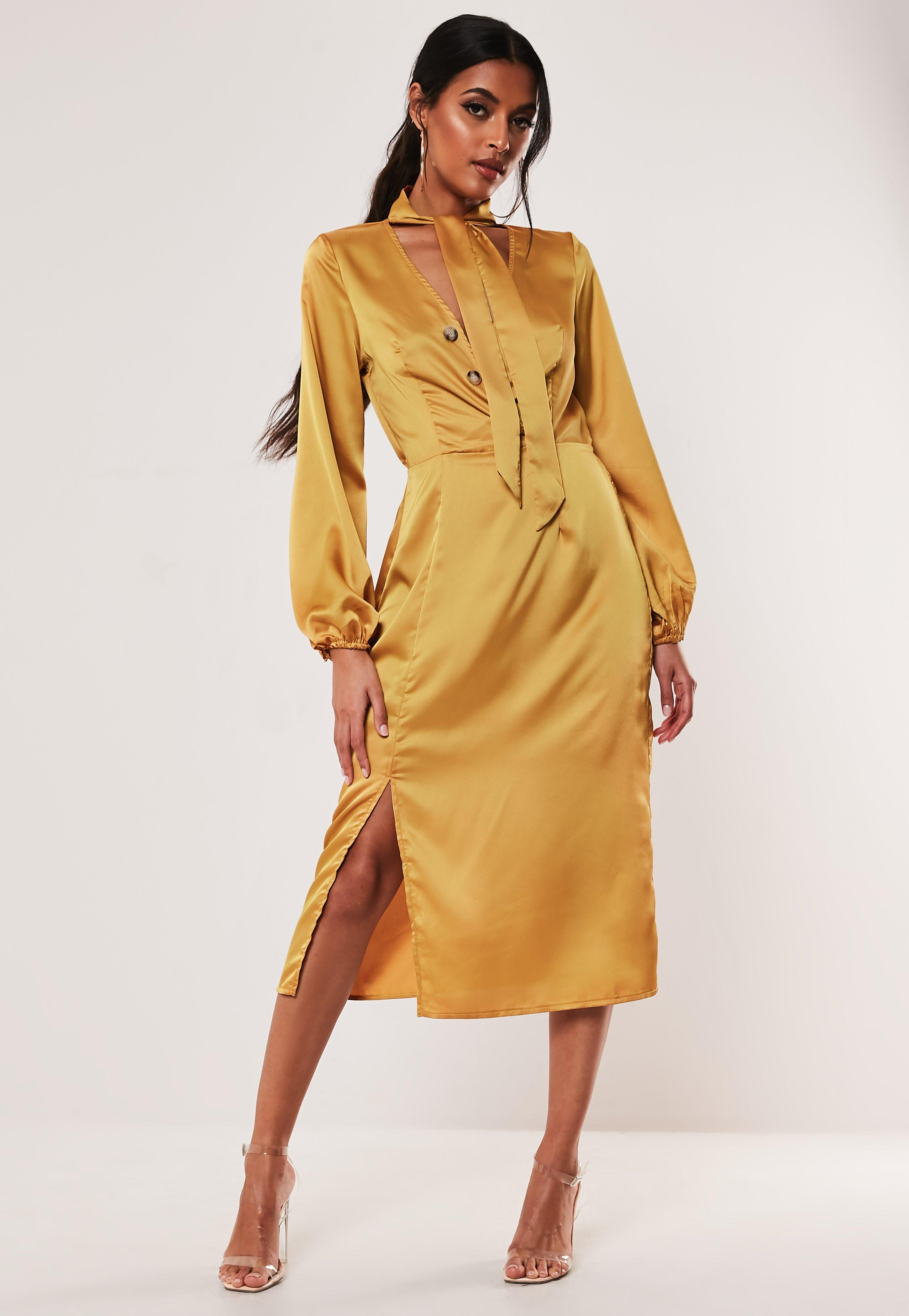 Mustard Satin Tie Neck Button Midi Dress by Missguided
