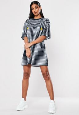 97661ae345b8 ... Navy Stripe Star Oversized T Shirt Dress