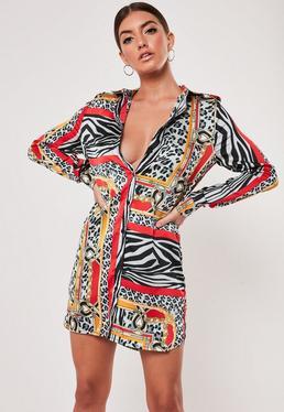 1e3ec32e9e4 ... Animal Chain Print Oversized Shirt Dress