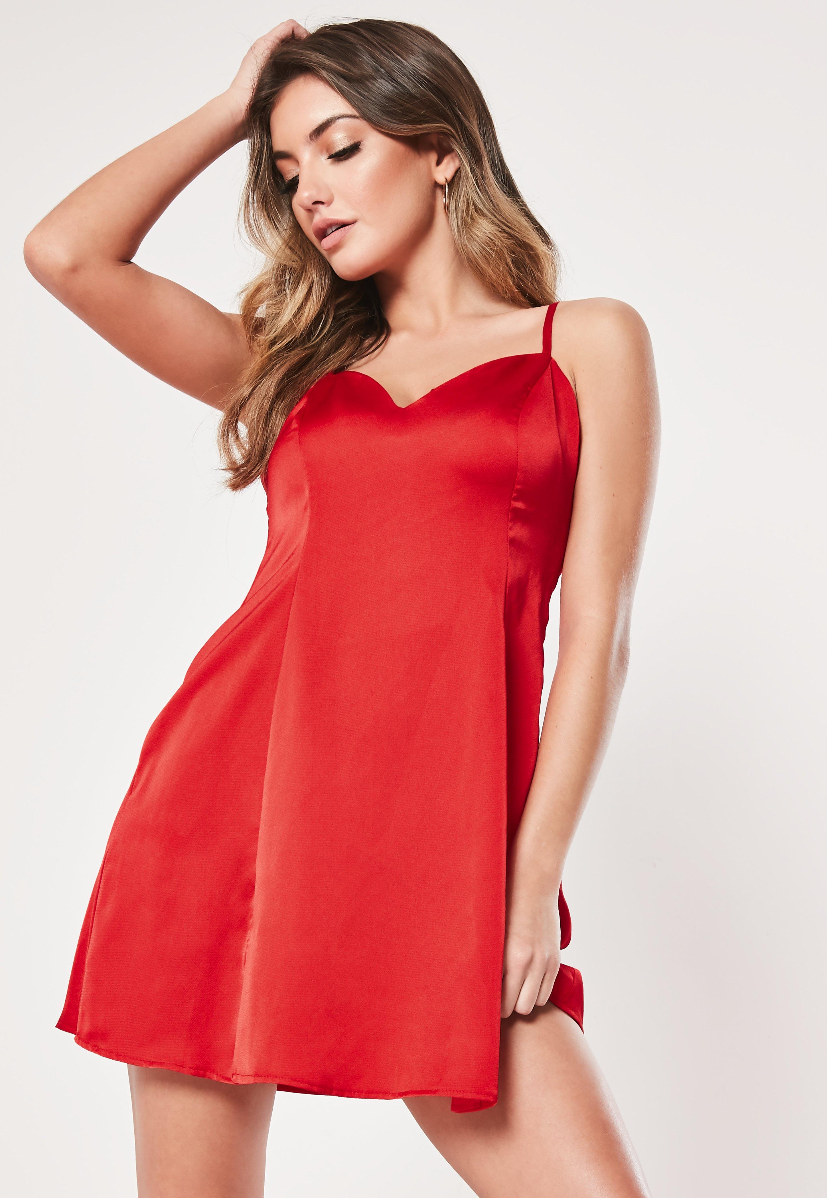 Red Satin Cami Side Split Skater Dress by Missguided