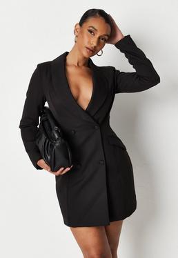 Czarna sukienka marynarka z d?ugimi r?kawami