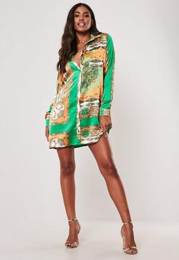 af8979ef214 ... Orange Chain Print Shirt Dress