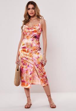 eae72fbd232 ... Orange Satin Tie Dye Cowl Midi Dress