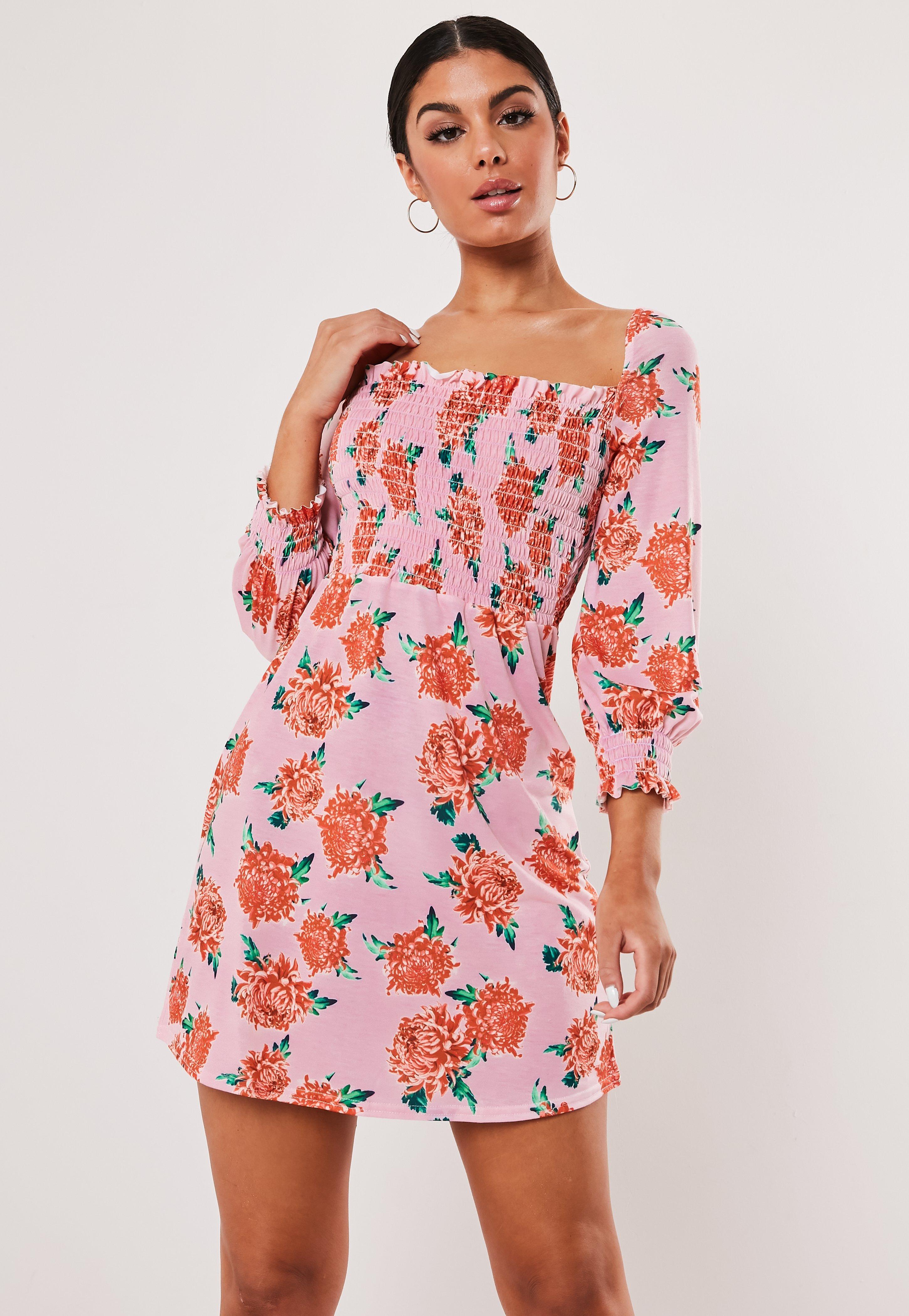 d71d10596473a Pink Floral Print Shirred Waist Skater Dress