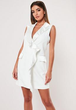 bc9e2aece0d3 Black Pleated Hem Sleeveless Blazer Dress · White Satin Sleeveless Frill  Blazer Dress
