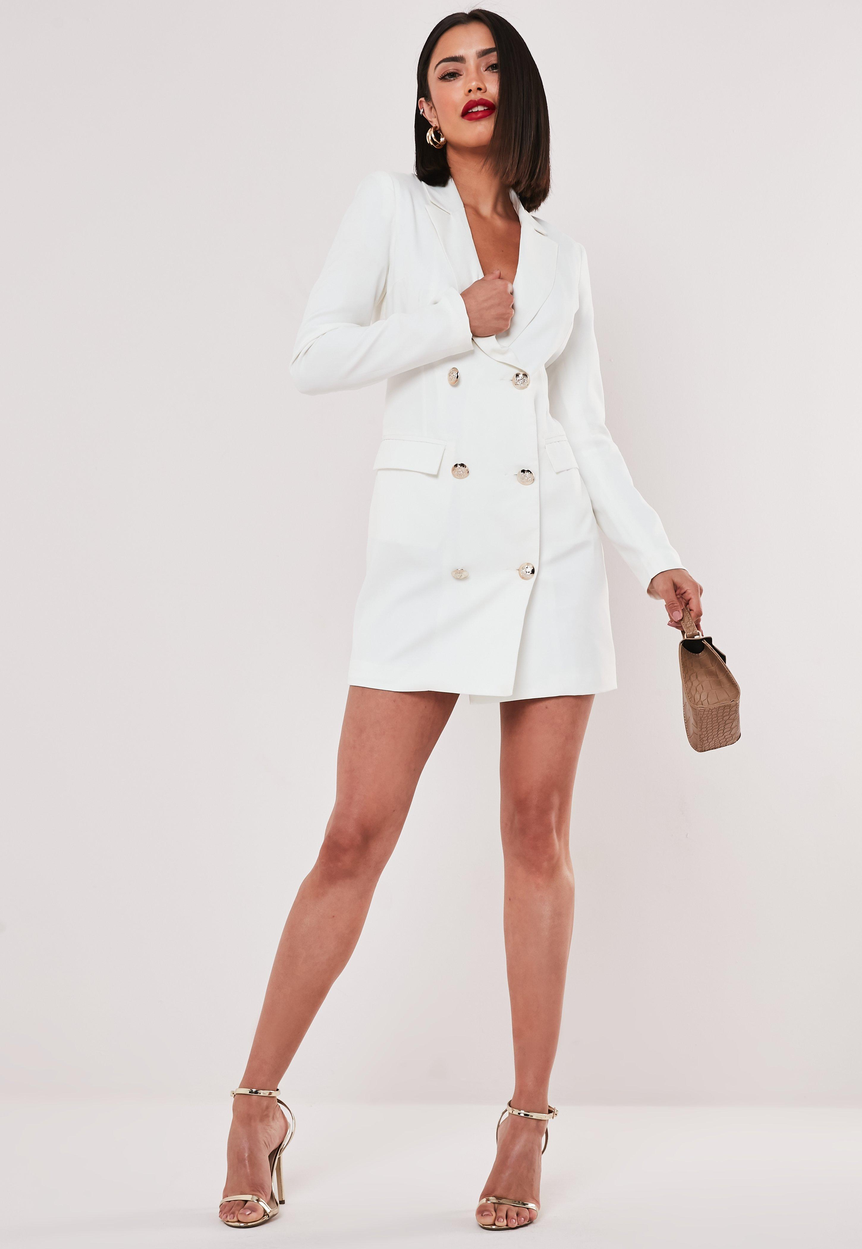 1b1bce67b4177 White Double Breasted Blazer Dress | Missguided
