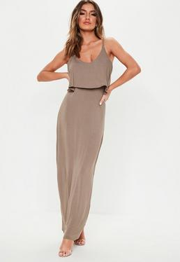 2231727910 Stone Leopard Print Slinky Cowl Neck Bodycon Maxi Dress · Taupe Overlay Maxi  Dress