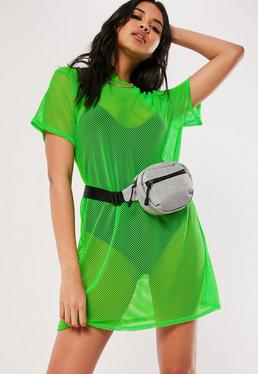 095a4640cd3 Lime Oversized Fishnet T Shirt Dress