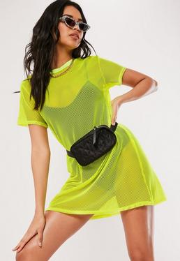 442da5a6c5d ... Yellow Oversized Fishnet T Shirt Dress