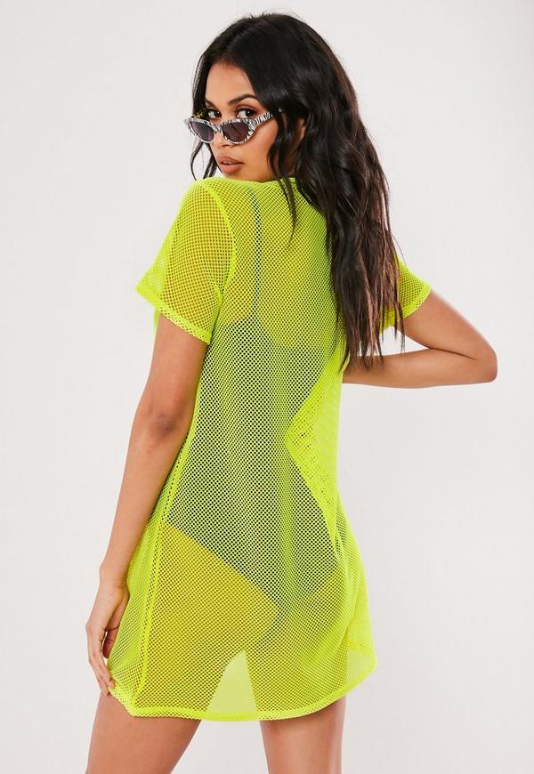 9d148f0a5420 ... Yellow Oversized Fishnet T Shirt Dress. Previous Next