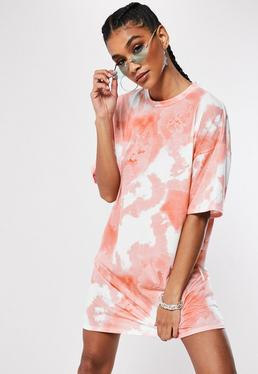 3fc7875e910c Pink Oversized Tie Dye T Shirt Dress