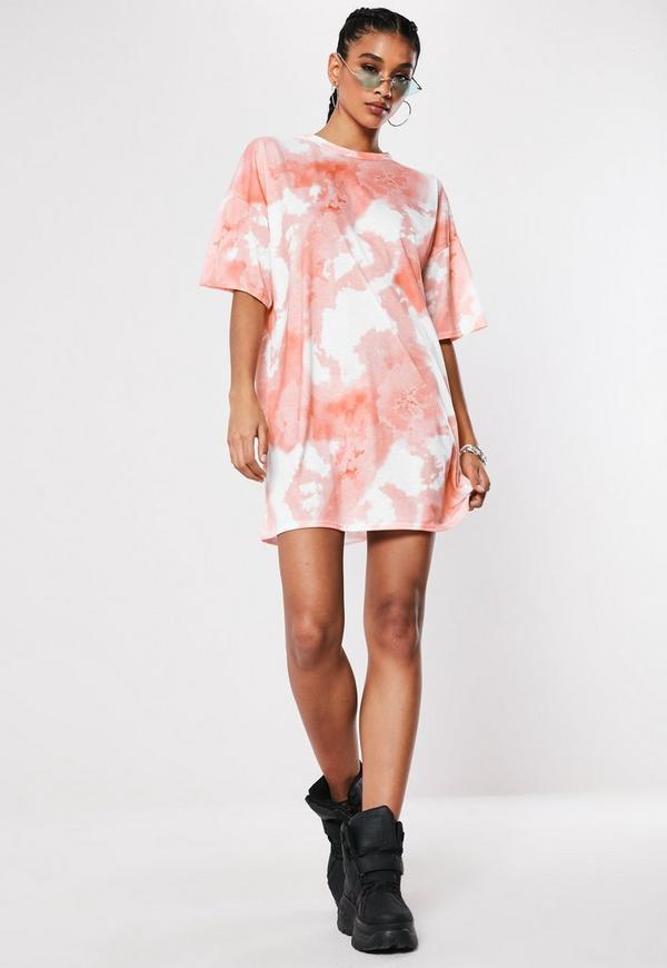 Pink Oversized Tie Dye T Shirt Dress   Missguided