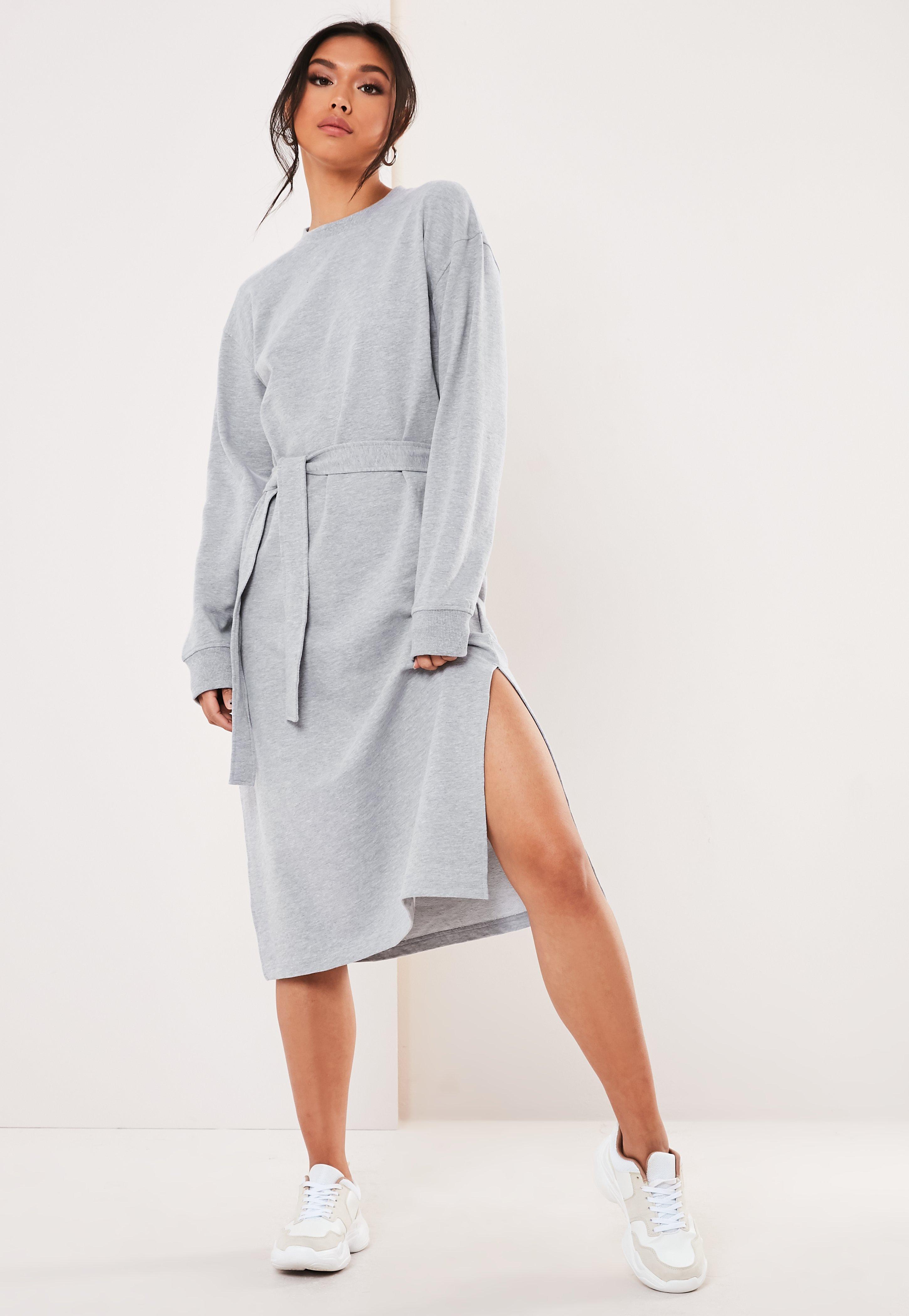 27b62e21827 Gray Midi Sweater Dress