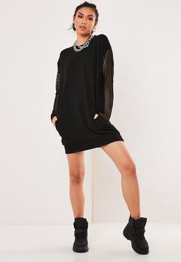 151ed6ced6 Czarna sukienka bluza z rękawami z siateczki