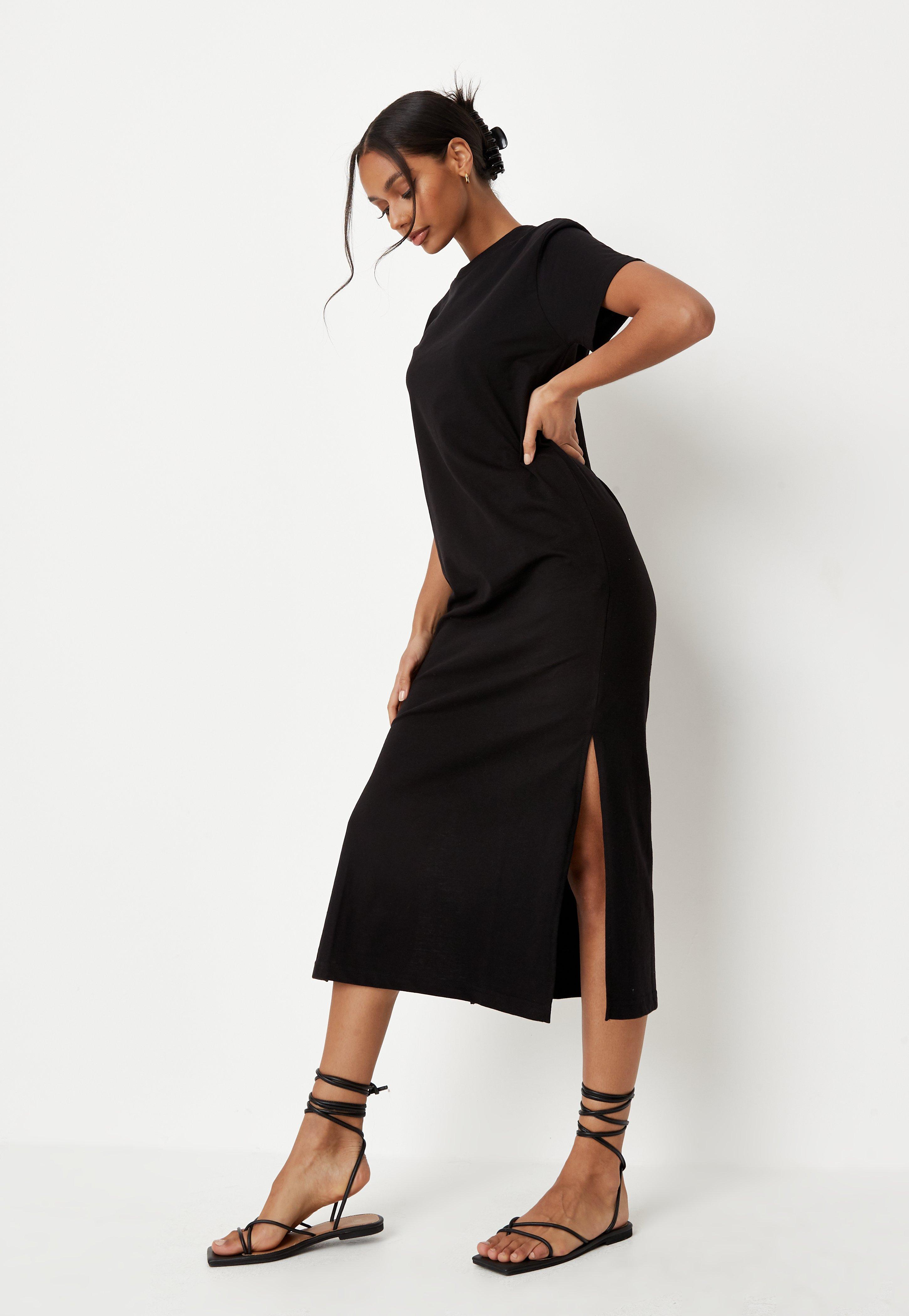 Black Basic Midi T Shirt Dress | Missguided