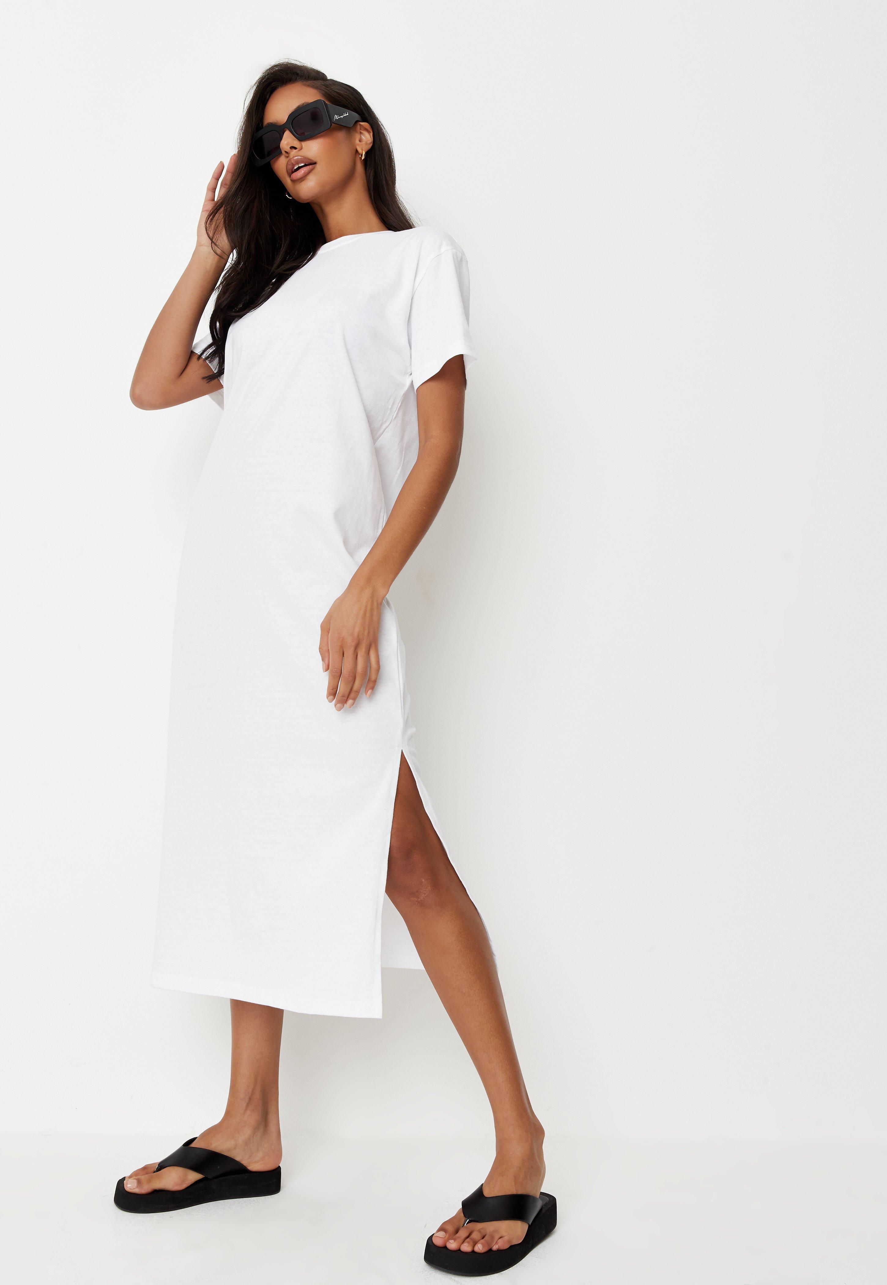 buy online 4c040 26856 Basic Midi-T-Shirtkleid mit Schlitz in Weiß