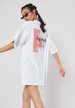 df0d262b0ad White Hangover Graphic Oversized T Shirt Dress