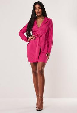 Розовое платье-пиджак с завязкой спереди