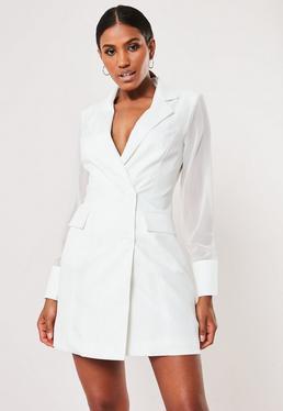 a47118d1681 Petite White Blazer Seatbelt Dress · White Mesh Sleeve Blazer Dress