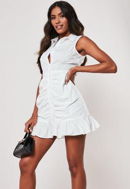 60433381f ... Biała marszczona koszulowa sukienka mini z falbanką