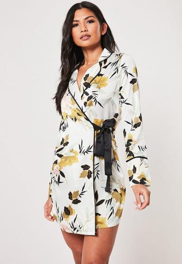 Cream Floral Print Blazer Mini Dress by Missguided