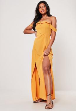 03dc7b19fe3 Mustard Bardot Button Front Maxi Dress