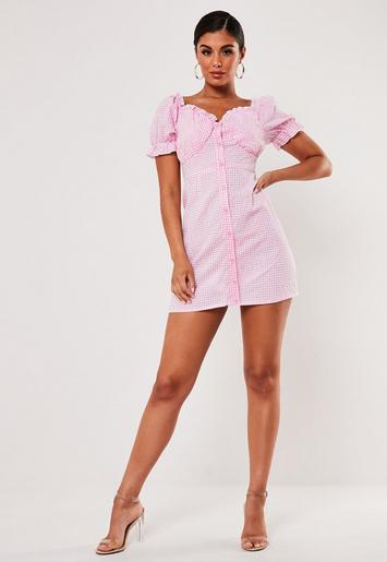 Pink Gingham Milkmaid Mini Dress by Missguided