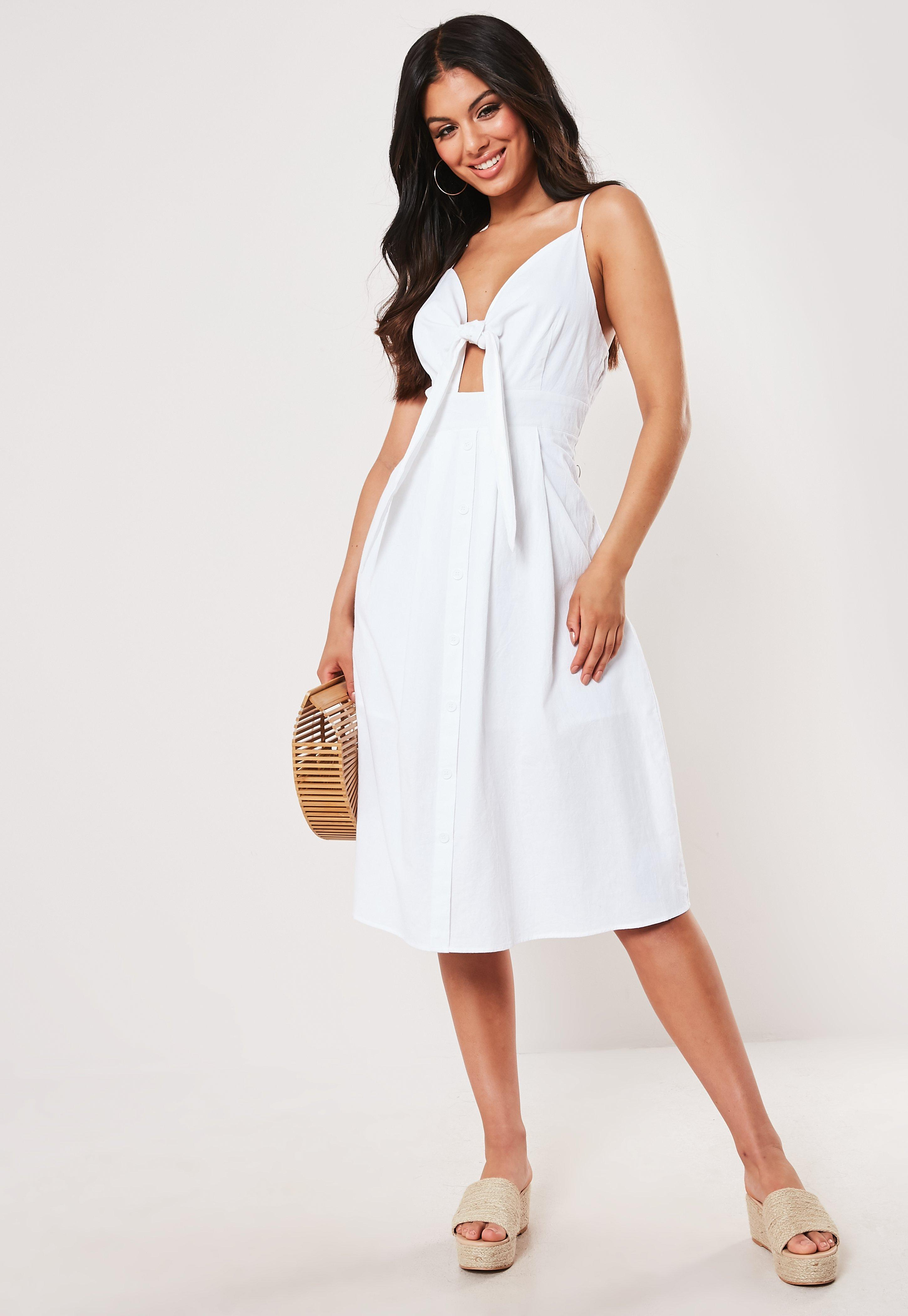 White Tie Front Button Down Midi Dress by Missguided