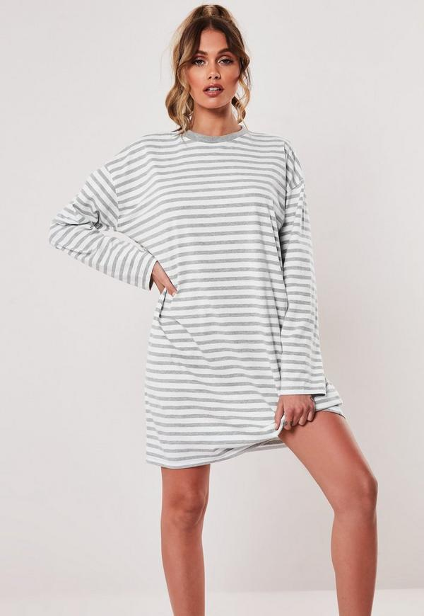 5d13cdc25759 Red Stripe Long Sleeve Oversized T Shirt Dress | Missguided Australia