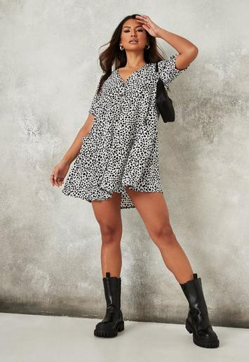 White Dalmatian Button Down Smock Dress Missguided Ireland