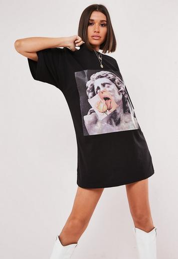 Black Oversized Statue Graphic Front T Shirt Dress