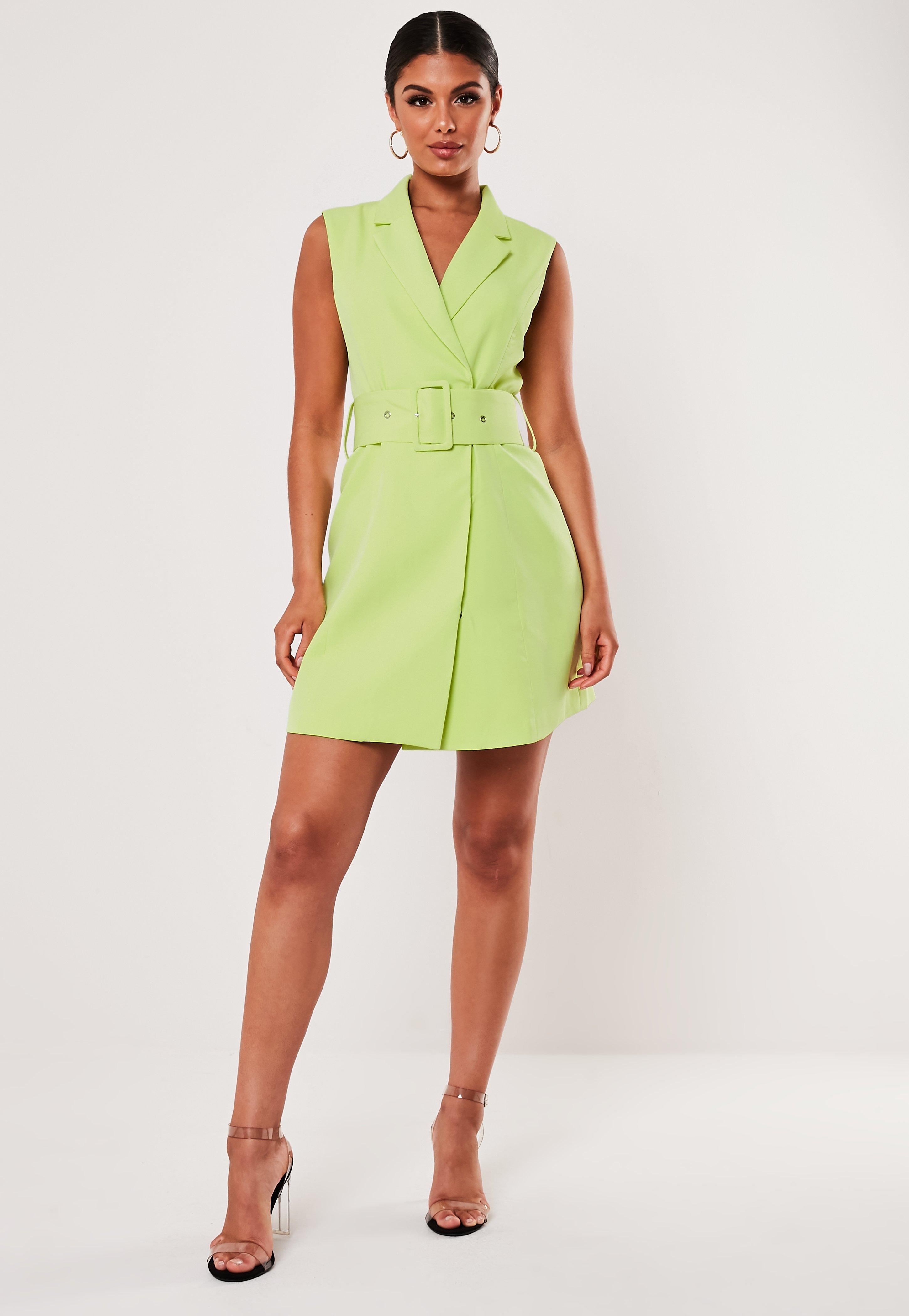 Lime Sleeveless Belted Blazer Mini Dress by Missguided