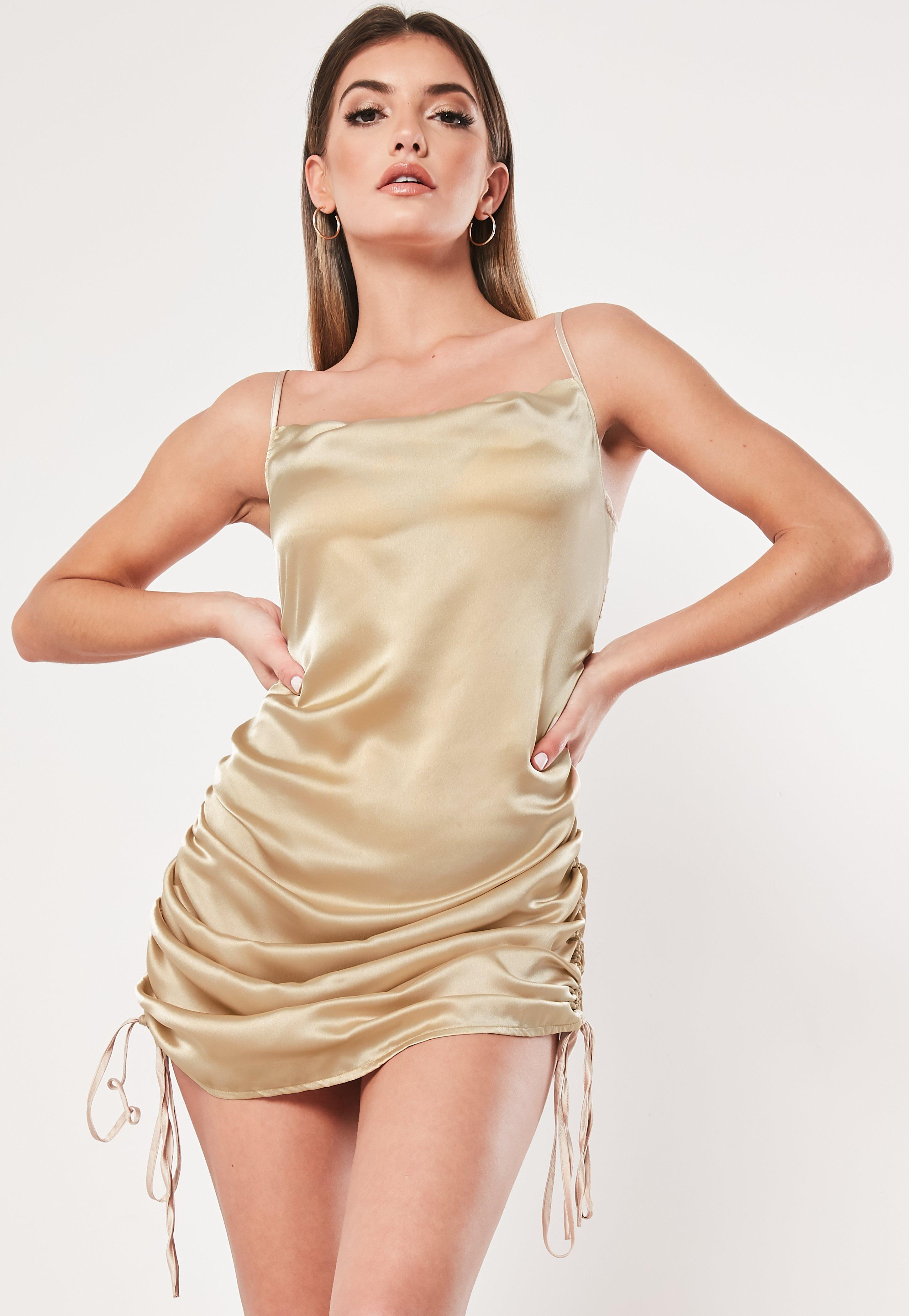 df65df3d Champagne Satin Cami Ruched Side Mini Dress | Missguided