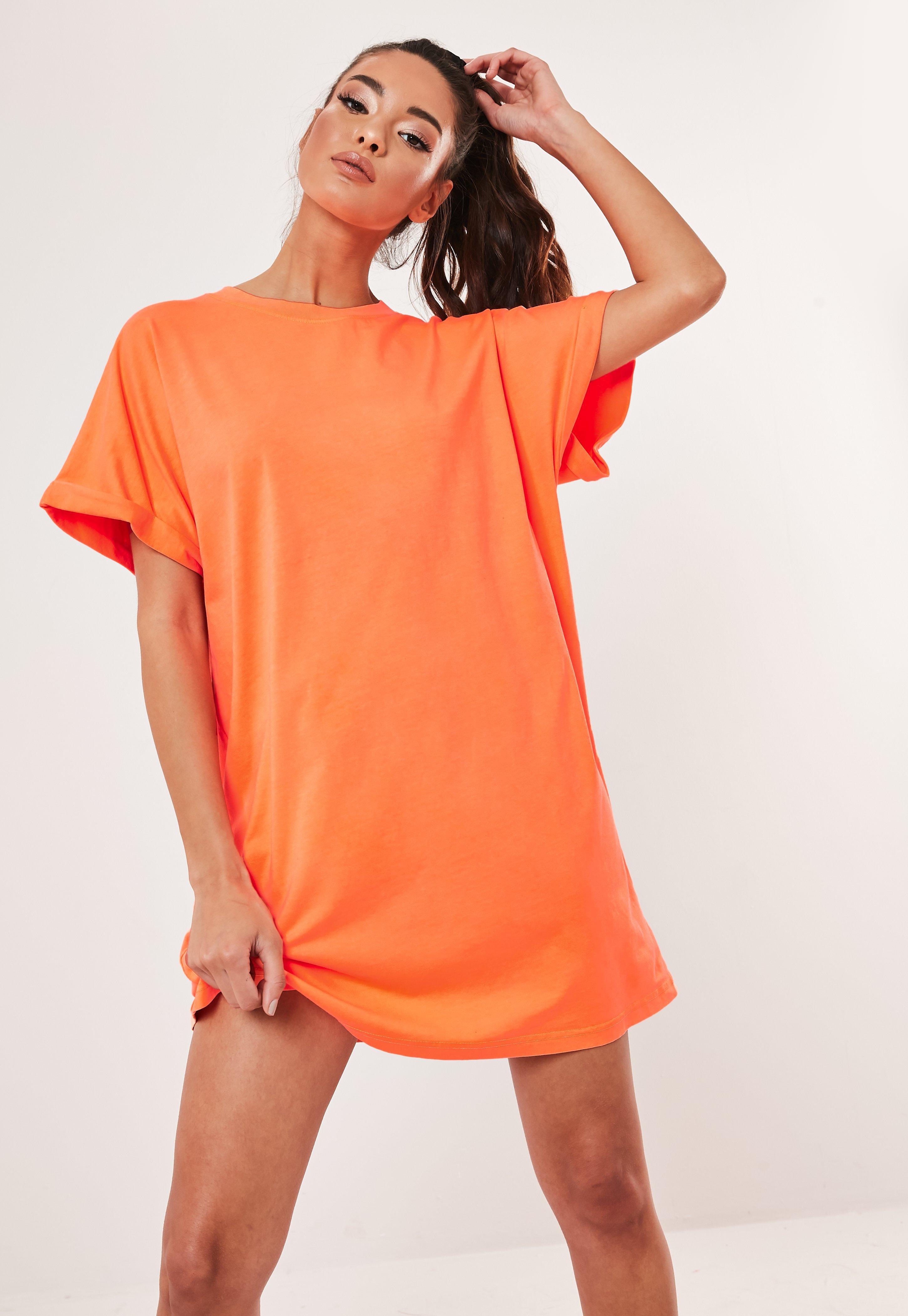 6fed27415a Neon Orange Roll Sleeve T Shirt Dress   Missguided Australia