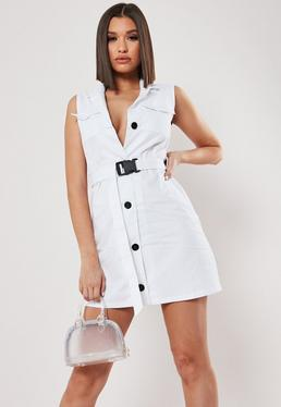 181be7ef58e6 Black Pleated Hem Sleeveless Blazer Dress · White Sleeveless Blazer Dress