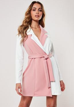 24b155cb4e8f Pink Contrast Long Sleeve Fitted Jersey Belted Wrap Dress