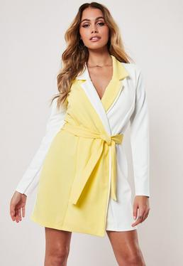 2cca6b53ce34 Lemon Contrast Long Sleeve Fitted Jersey Belted Wrap Dress