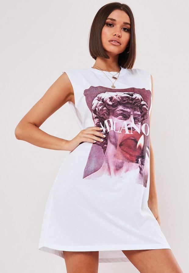 Missguided - Oversized Sleeveless T Shirt Dress - 1