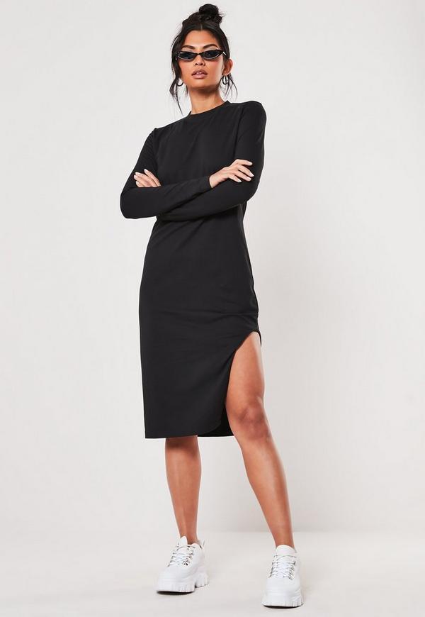 Black Side Split Midi Dress Missguided