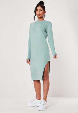 f49337524e1 ... Green Side Split Midi Dress
