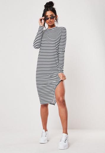 Black Stripe Side Split Midi Dress by Missguided