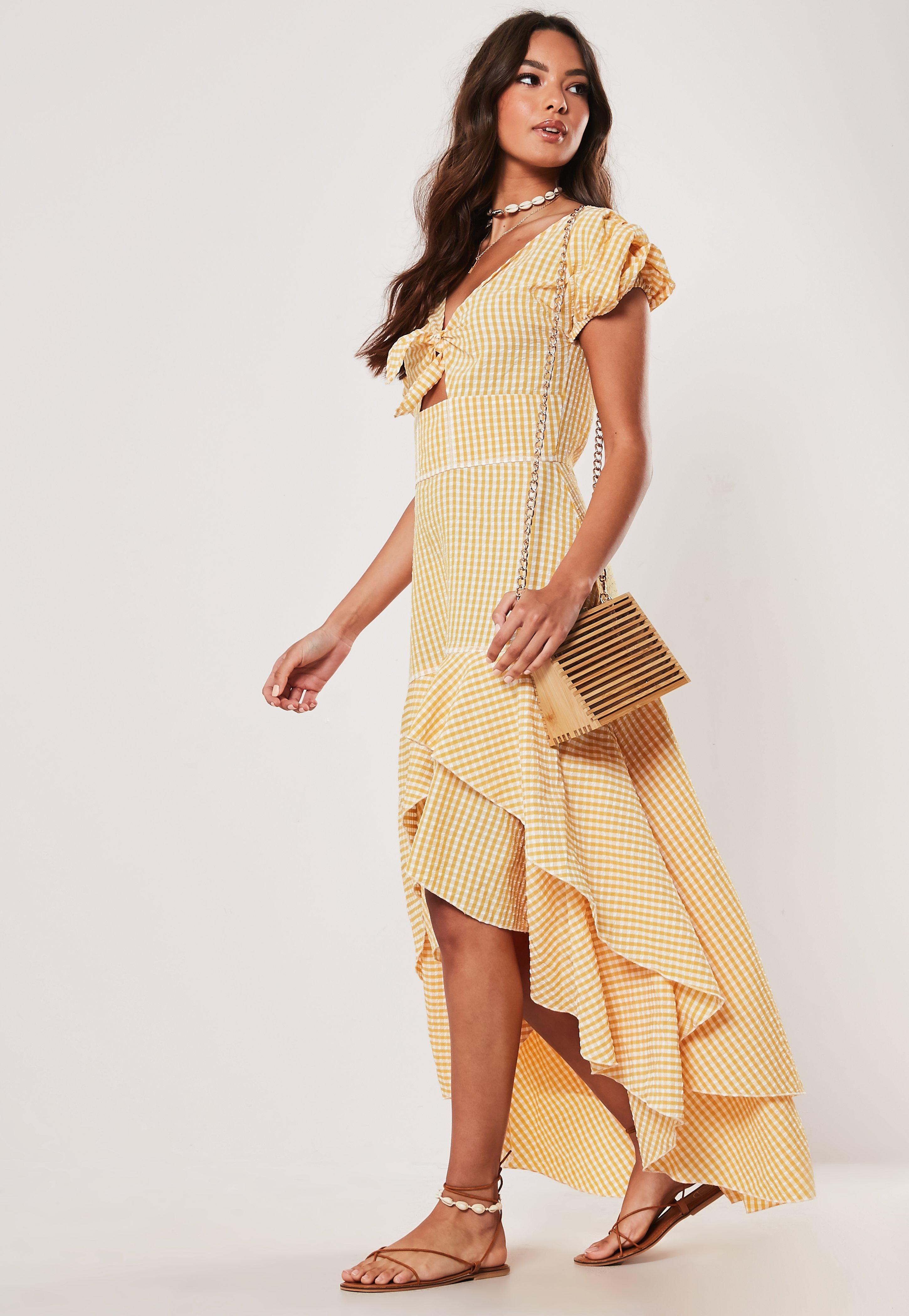 Yellow Gingham Tie Front Frill Midi Dress by Missguided
