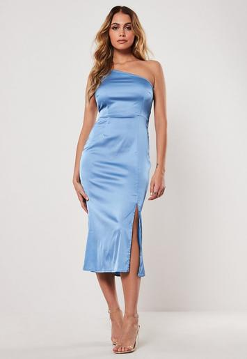 Blue Satin One Shoulder Midi Slip Dress Missguided