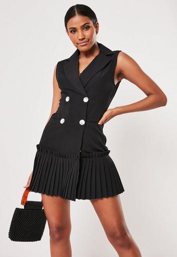 Black Pleated Hem Sleeveless Blazer Dress by Missguided
