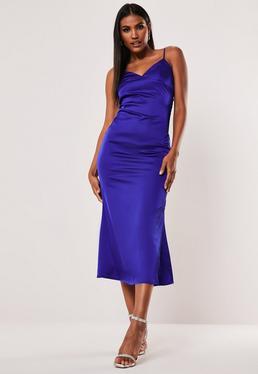 Кобальтовое атласное платье мидакси с бретельками Cami