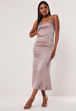 0e39a41ef8 Black One Shoulder Bodycon Mini Dress · Mocha Cami Slip Satin Midaxi Dress