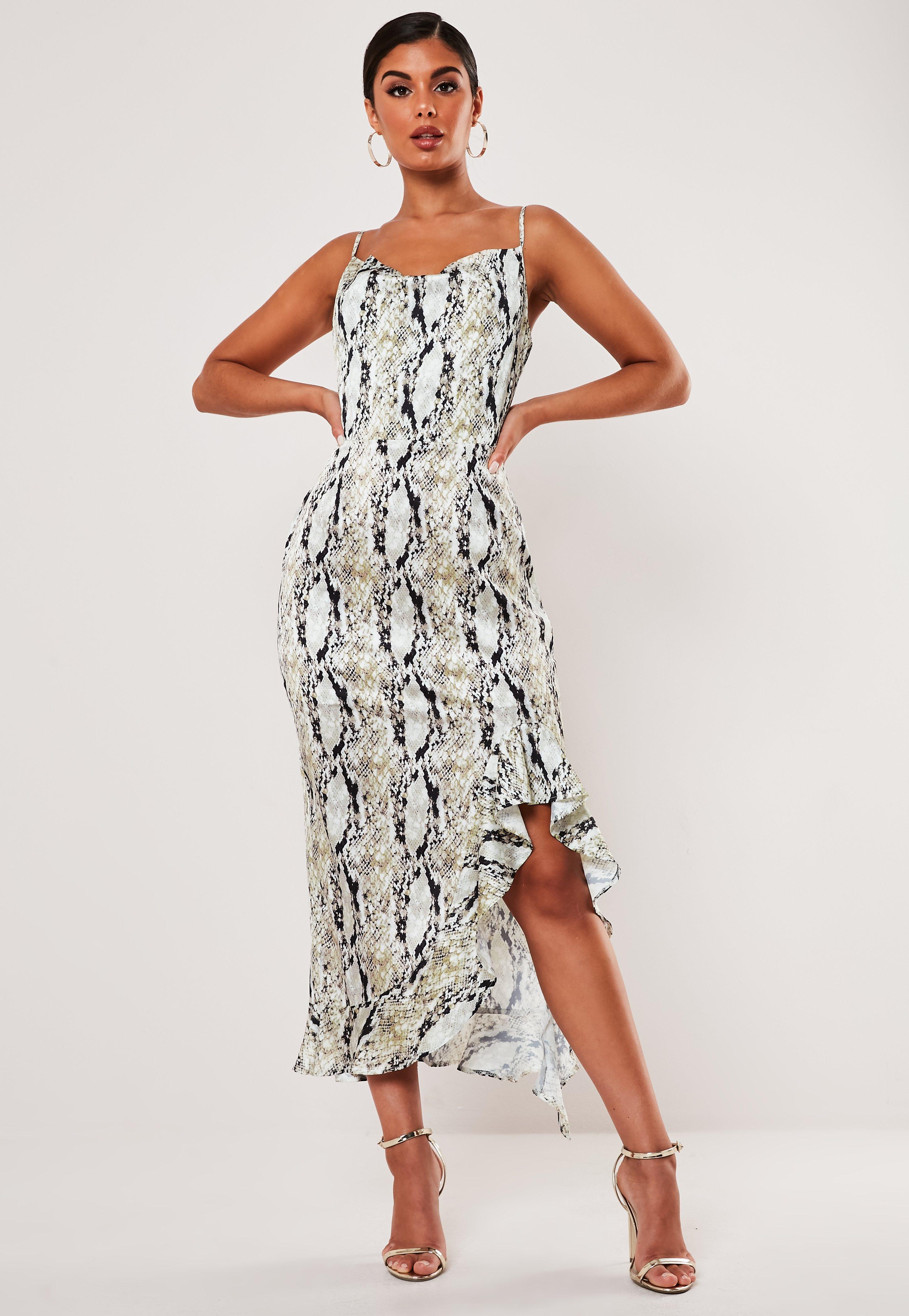 cb5d9ae8c Stone Snake Print Cami Ruffle Midi Dress