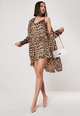 0c10632ef9ad0 Petite Black Strappy Plunge Bodycon Dress; Stone Leopard Print Cami Slip Dress  Co Ord Set