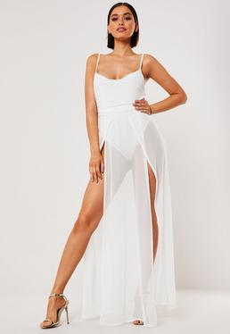 Белое платье макси с прозрачной сеткой