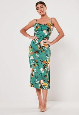 bd246853872 ... Green Floral Cowl Neck Midi Dress